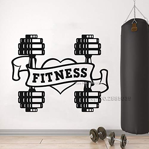 wZUN Calcomanías de Pared de Fitness con Mancuernas Pegatinas de Pared de Fitness Signo de Gimnasio decoración de Pared Mural escaparate 63X50cm