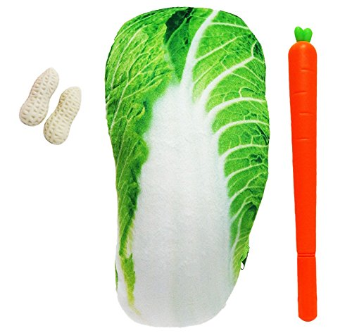 pcb おもしろい ペンケース 食品 サンプル ふでばこ ジッパー ポーチ 文具 けしごむ ボールペン セット (白菜 はくさい)
