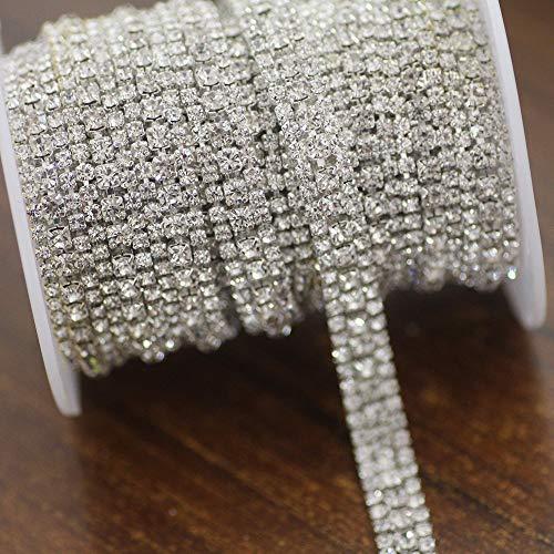 AUBERSIT Cadena de Copa de Diamantes de imitación, Base Plateada Crystal AB 3 Filas Adornos de Diamantes de imitación de Vidrio, Transparente