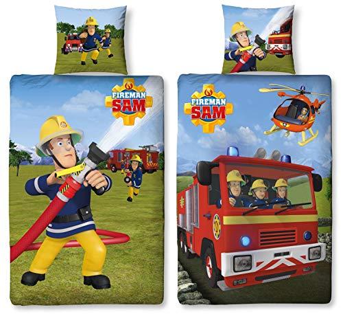 Character World Wende Bettwäsche Feuerwehrmann Sam, 135 x 200 cm 80 x 80 cm, 100% Baumwolle, 2 Motive auf Einer Bettwäsche (100% Baumwolle Biber/Flanell)