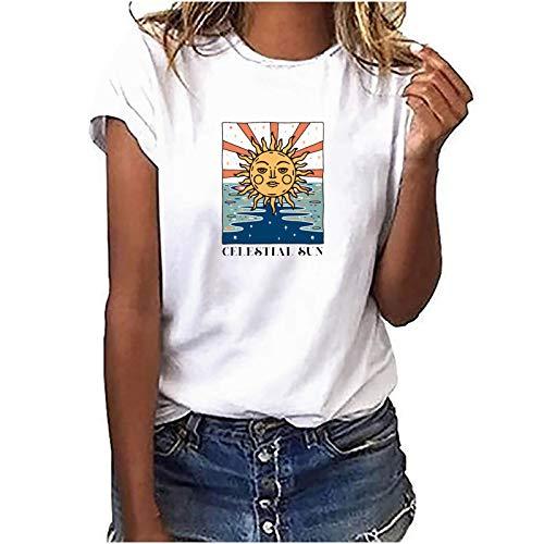 Camiseta de manga corta para mujer, parte superior de verano, estampada, informal, básica, moderna, cuello redondo, adolescente, niña, camisa, blusa, túnica, fitness, deporte Weißj M