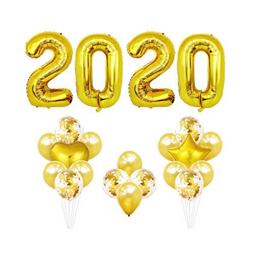 Toyvian Globo de lámina de oro 2020 40 globos de graduación para decoraciones del festival de fin de año 2020 (dorado)