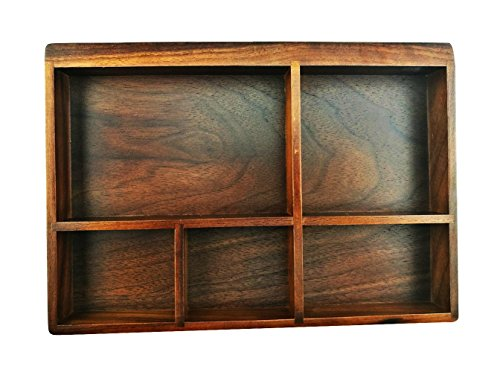 Winterworm Vintage Black Walnut Wooden Tray Organizer 5 Compartment Organizer Jewelry Storage Key Holder Divided Box Desk Organizer