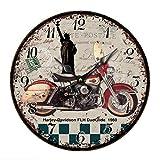 Reloj De Pared Estatua De La Libertad Y Motocicleta Reloj De Pared De Cuarzo Estilo Toscano Vintage Francesa Paris Reloj De Madera