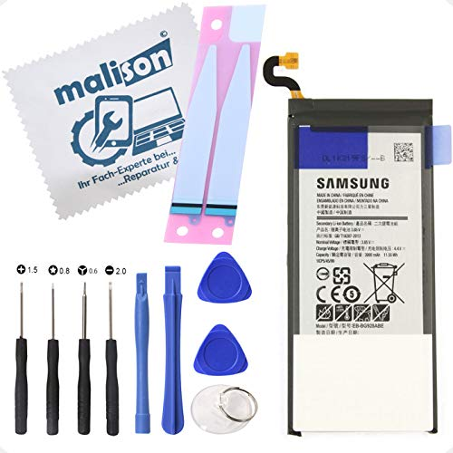 Akku für Original Samsung Galaxy S6 Edge Plus | SM-G928F | EB-BG928ABE | Ersatzakku | Ersatzbatterie | inklusiv Displayputztuch | Batterie mit Klebestreifen und Werkzeugset für Reparatur