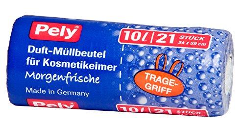 pely 5566 Duft-Müllbeutel für Kosmetikeimer Morgenfrische, mit Tragegriff, 10 Liter, 21-Stück