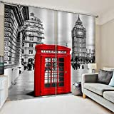 3D Printed Blackout Curtainsdigital Printing Design Distinctive Vertical Curtains, Red Phone Booth Printing Simple Stylish Eyelet Curtains Breathable Insulation ,For Living Room Bedroom Kid Room Cast