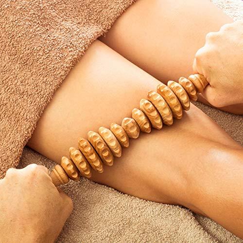 Tuuli Accessories Anti Cellulite Massage Massagegerät Massageroller Roller mit Griff Maderotherapie aus Holz 40 cm