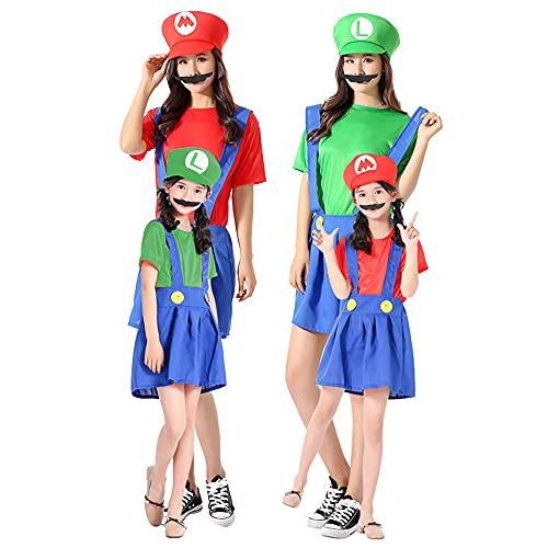 Disfraz de Super Mario Bros, para mujeres/niñas, Super Mario y Luigi, disfraz de Halloween Cosplay -S, M, L, XL