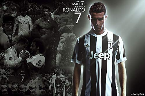 PosterHub Póster de Cristiano Ronaldo Juventus Soccer Real Madrid Juventus FC con acabado mate, 12 x 18 pulgadas, multicolor F-2637