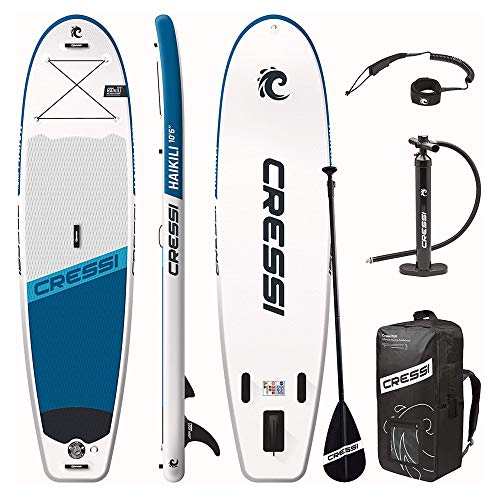 Cressi Haikili Inflatable Sup 10.6 Tabla Inflable para Practicar Remo de pie, Unisex-Adult, Blanco/Azul Marino, Un Tamaño