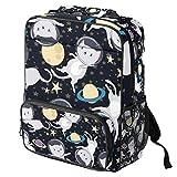 TIZORAX - Mochila escolar para niñas y niños, estudiantes, diseño de gato astronauta en el espacio y las estrellas para mujer, mochila de viaje, casual, senderismo, acampada