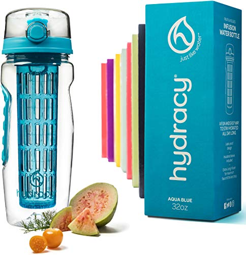 Hydracy Fruit Infuser Water Bottle - 32 oz Sports Bottle - Time Marker, Full Length Infusion Rod & Insulating Sleeve + 27 Fruit Infused Water Recipes eBook Gift - Aqua Blue