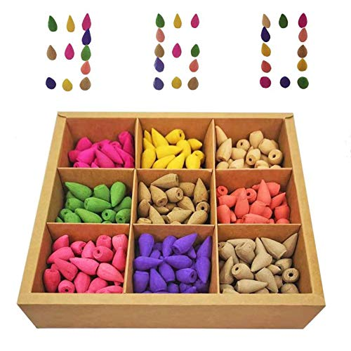 360 pcs Backflow Incense Cones, 9 Kinds of Natural Scents for Spa Yoga Meditation Relax