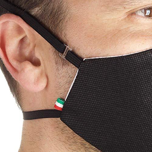 3 Stück Masken Schutzmaske für Mund und Nase, Baumwoll-und TNT-Masken, Wiederverwendbare Unisex Waschbare Maske Staubmaske Zwei Größen Dünn und Groß - Made in Italy (Einstellbarer:Large,Schwarz)