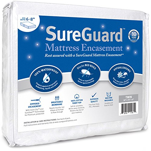 Twin (6-8 in. Deep) SureGuard Mattress Encasement - 100%...