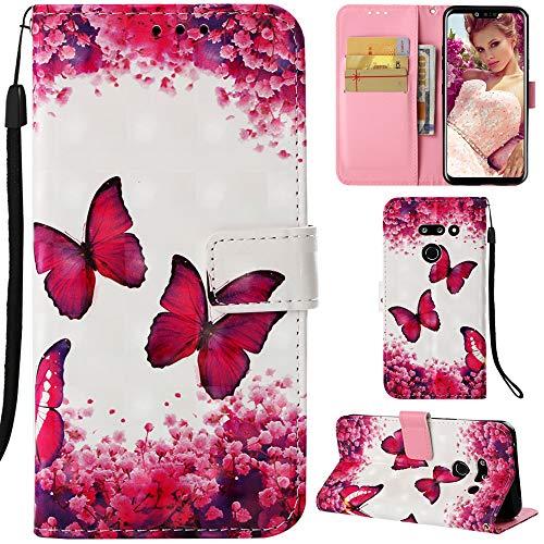 DodoBuy LG G8 ThinQ Hülle 3D Flip PU Leder Schutzhülle Stand Handy Tasche Brieftasche Wallet Hülle Cover für LG G8 ThinQ - Schmetterling Rose