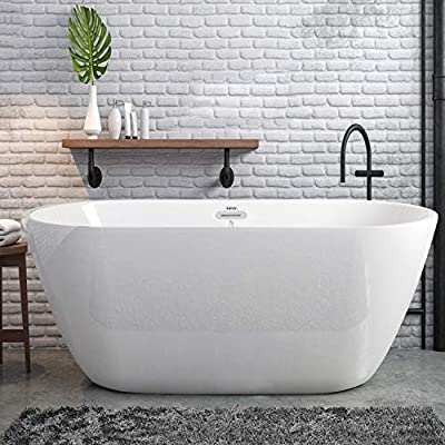 "FerdY 55"" Acrylic Freestanding Bathtub,Small & Gracefully Shaped Freestanding Soaking Bathtub, Glossy White 2020 All New Oval, cUPC Certified, Drain & Overflow Assembly Included"