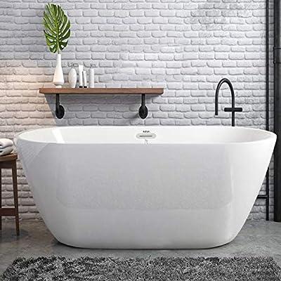 FerdY Bali Freestanding Bathtub Gracefully Shaped Freestanding Soaking Bathtub, 02538 Glossy White