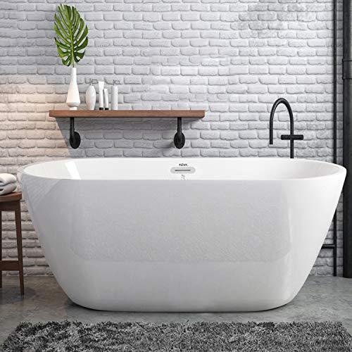Big Save! FerdY 55 Acrylic Freestanding Bathtub,Small & Gracefully Shaped Freestanding Soaking Bath...