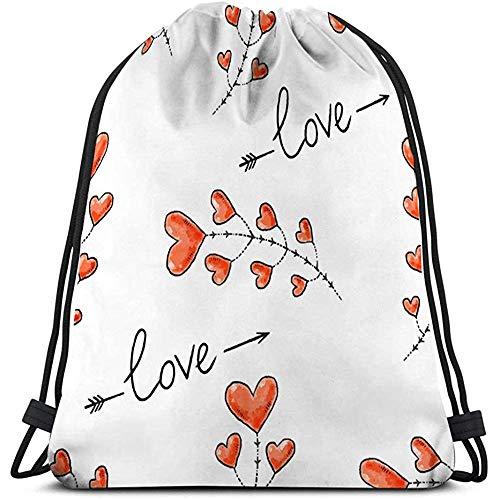 Trekkoord Rugzak Tas, Gym zak, harten pijlen liefde inscriptie Valentijnsdag romantische patroon behang desig Stars