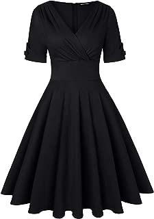 Women's 1950s Vintage Wrap Deep V Neck Half Sleeve Retro Cocktail Swing Dress