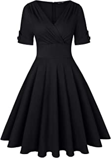 MINTLIMIT Women`s 1950s Vintage Wrap Deep V Neck Half Sleeve Retro Cocktail Swing Dress
