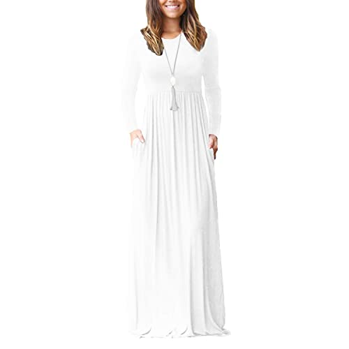 b1792d477 Viishow Women s Long Sleeve Loose Plain Maxi Dresses Casual Long Dresses  with Pockets