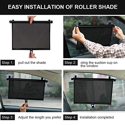 MOTOBA Car Shade for Baby,2 PCS Retractable Roller Car Window Sunshade to Protect Kids Pets Interior Seat from Harmful UV Rays Keeps Car Cool