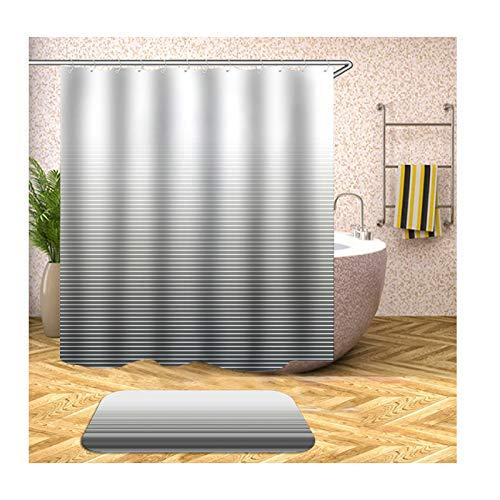 Anwaz Duschvorhang & Badezimmerteppich Set Waschbar aus Polyester Streifen Muster Design Bad Vorhang Badvorleger Bunt mit 12 Duschvorhangringen für Badewanne - 180x200CM/ 40x60CM