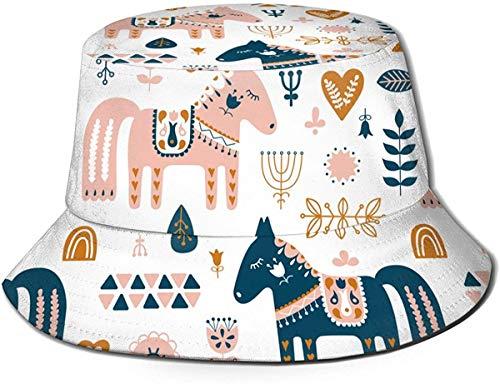 Sombrero de Cubo de Viaje con Estampado de Animales para bebés Diferentes Unisex, Gorra de Pescador de Verano, Sombrero para el Sol, Dala, Caballo y Bosque Floral