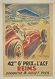 Reims Grand Prix 1955 Poster, Reproduktion/Format 50 x 70