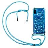 HülleLover Handykette Handyhülle für Huawei P30 Lite, Glitzer Flüssig Bewegende Treibsand Transparent Silikon Hülle mit Kordel zum Umhängen Necklace Phone Hülle Band für Huawei P30 Lite, Blau
