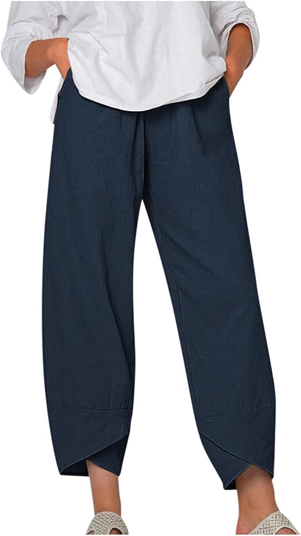LEIYAN Womens Casual Cotton Linen Pants Summer Capri Yoga Cropped Pants Classic Travel Workout Palazzo Harem Pants