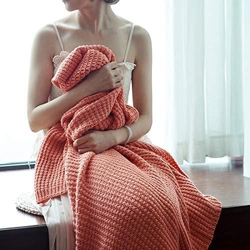 Blanket Couverture Tissée à La Main Climatisation Couverture Tricot épaisse Ligne Châle Doux Et Chaud Home Throw Home Decor 3 Couleurs,Red-51.1 * 70.8in