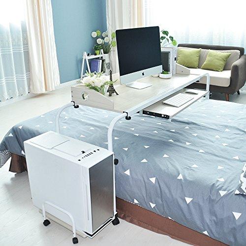 sogesfurniture Höhenverstellbar Laptoptisch Computertisch 120cm breit, Mobiler Schreibtisch PC Tisch Rolltisch Pflegetisch Betttisch mit Rollen, Ahorn 203#2-MP-BH