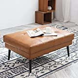 Vonanda Ottoman Bench, 34 Inch Foot Rest Stool in Faux Leather with Tufted Soft Padded and Durable Metal Legs for Bedroom, Living Room, Ottoman Caramel