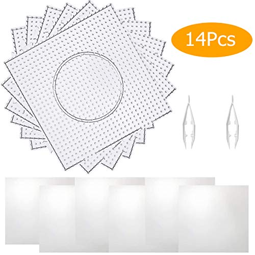 DEEBF 6PCS 5mm Fuse Beads Boards,Large Square Fuse Beads Boards Clear Plastic Pegboards for Kids Craft Beads