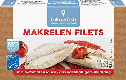 followfish MSC Makrelen Filets in Bio-Tomatensauce, 125 g