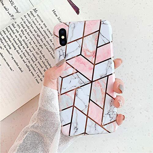 Herbests Kompatibel mit iPhone XS/iPhone X Handyhülle Marmor Matt Marble Muster Schutzhülle Dünn Handytasche Glitzer Glänzend Ultradünn Transparent Durchsichtige Silikon Hülle Case,Pink Weiß