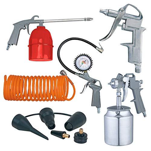 WALTER Druckluft Kompressor Zubehör-Set, 6-tlg, für handelsübliche Kompressoren, Farbsprühpistole, Sprühpistole, Reifenfüller mit Manometer, 5 m Druckluft Spiralschlauch, Verbindungsstücke