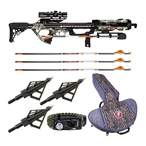 Barnett Crossbows Hypertac 420 FPS Crossbow with Soft Case, Arrows, Broadheads, and Bracelet Bundle (5 Items)