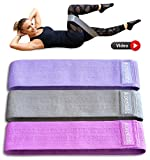 Resistance Bands Set of 3 – Non Slip Workout Loop Thick Cloth Exercise Booty Band for Legs and Butt – Exercise Equipment Hip Thigh Glute – Fitness Bands 3 Levels- BONUS Carry Bag, Training Video