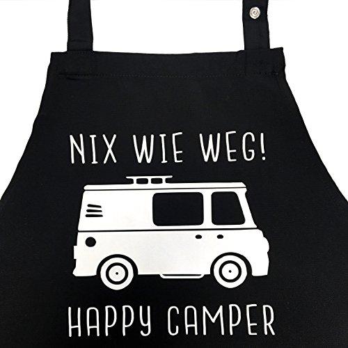 Nix wie Weg - Happy Camper - lustige Grillschürze für Männer, Kochschürze - Geschenkidee Camper, Wohnmobil, Zubehör Geschenke Womo, Vanlife, Kastenwagen