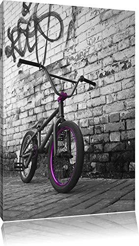 ZHOUING-- Poster Immagine BMX Bicicletta Davanti al Muro di Graffiti Nero/Bianco 50x70 cm Senza Cornice