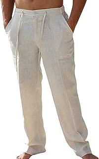 Mens Casual Loose Fit Straight-Legs Cotton Linen Long Pants Elastic Waist Loose Fit Beach Pants