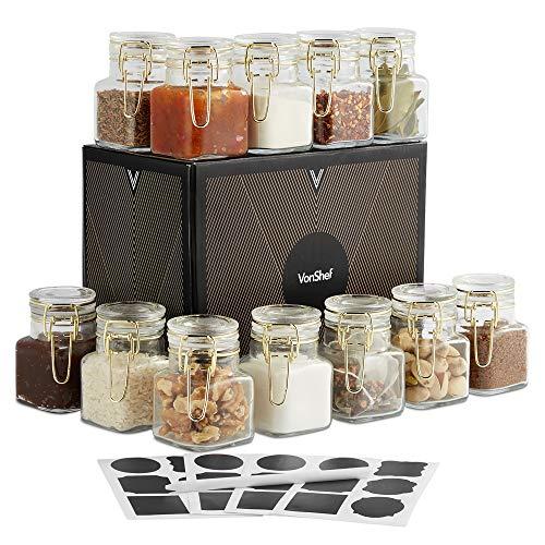 VonShef 12 Mini Clip Top Glas Vorratsdosen & Einmachgläser mit wiederverwendbaren Aufklebern und Anti-Staubkreide, Set von 12 Gläsern Goldfarbener Clip
