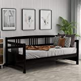 Wood Daybed Frame Twin Espresso,JULYFOX Modern Bed Platform with Headboard Footboard Wood Slats No Box Spring Needed 250 LB Heavy Duty 10 inch Storage for Home Office Small Spaces