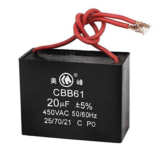 DealMux CBB61 AC 450V 50 / 60Hz 20UF 5% 2 de techo con conexión de cable del motor del ventilador Running Capacitor Negro