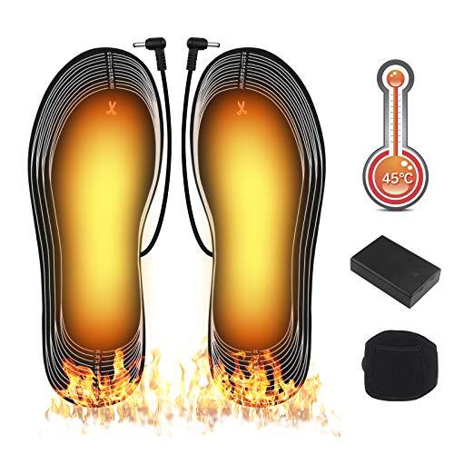 Beheizbare Einlegesohlen, Fußwärmer Wärmesohle Batterie Heizsohlen Beheizbare Thermosohle Unisex echuhheizung Kann geschnitten und gewaschen werden Geeignet zum Skicamping und Angeln größe 35 - 45
